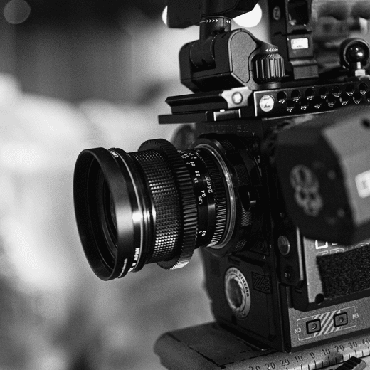 black and white image of video camera